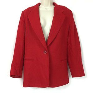 Requirements Red Wool Blazer 14 Women's Boxy Fit